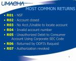 most common returns
