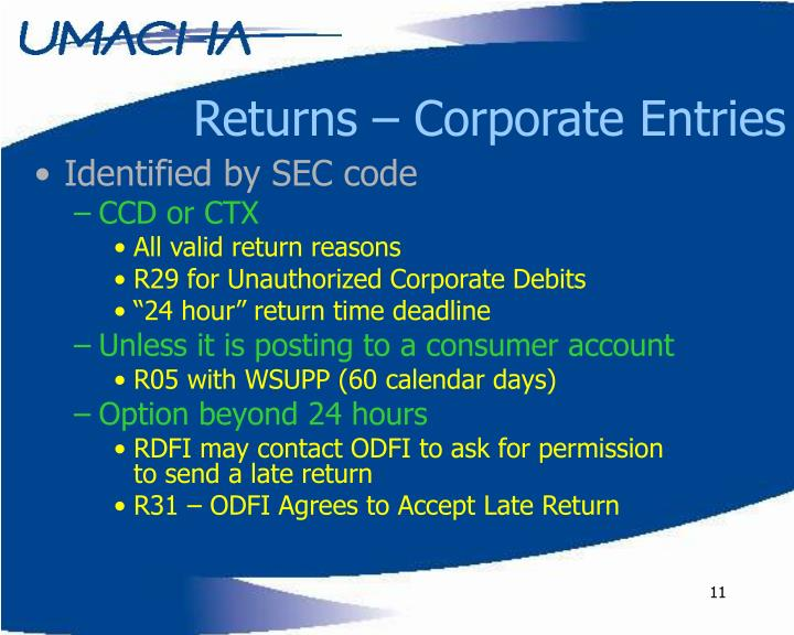 Returns – Corporate Entries