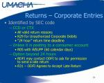 returns corporate entries