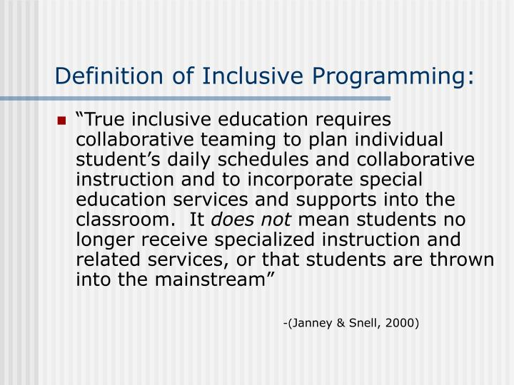 Definition of inclusive programming