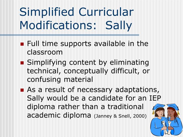 Simplified Curricular Modifications:  Sally