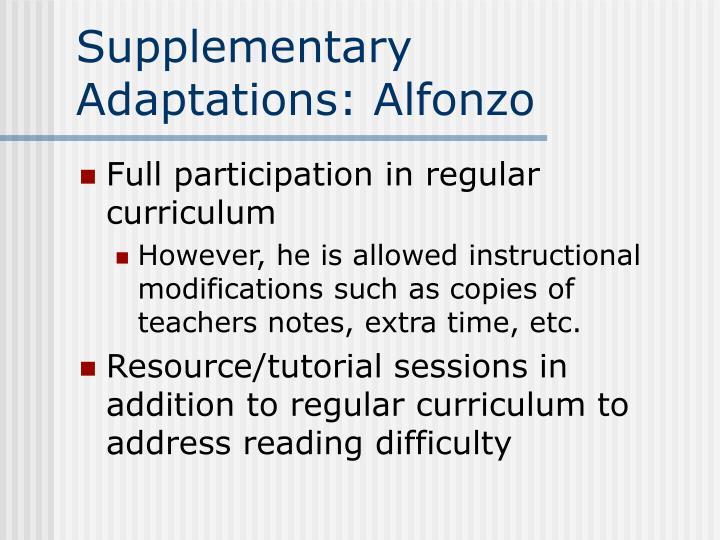 Supplementary Adaptations: Alfonzo