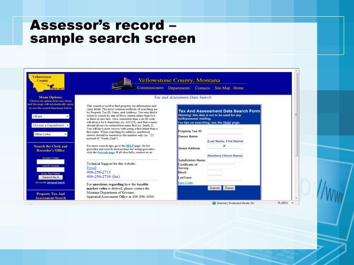 Assessor's record –