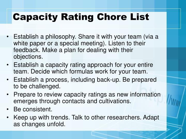 Capacity Rating Chore List
