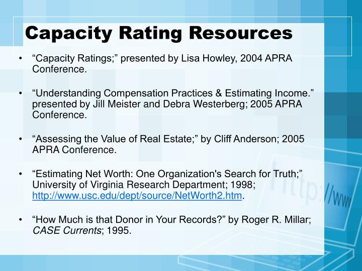 Capacity Rating Resources
