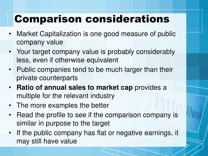 Comparison considerations