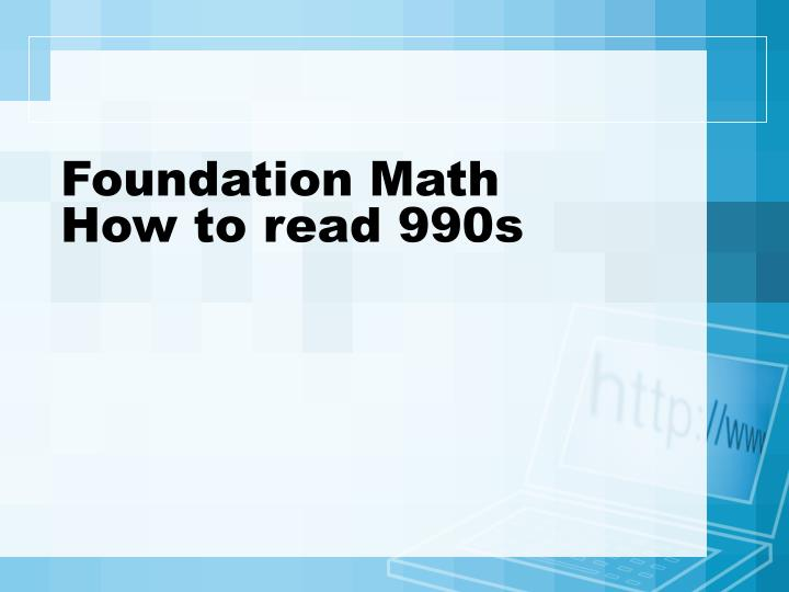 Foundation Math