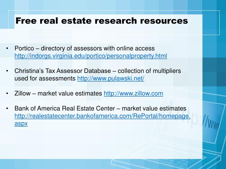 Free real estate research resources