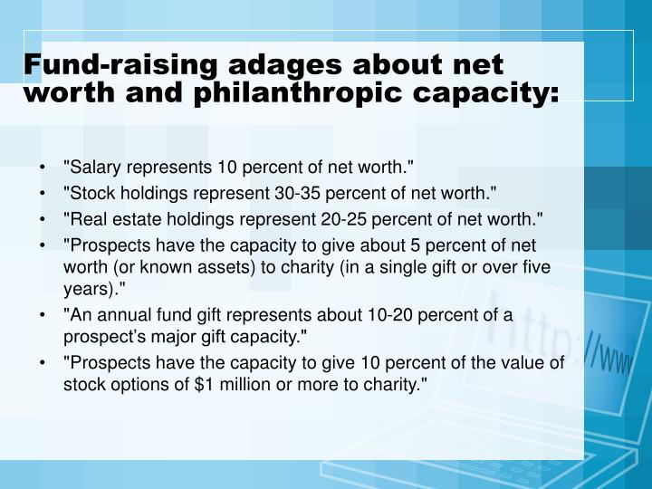 Fund-raising adages about net worth and philanthropic capacity:
