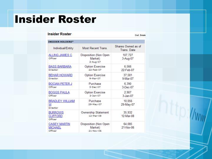 Insider Roster