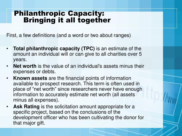 Philanthropic Capacity:
