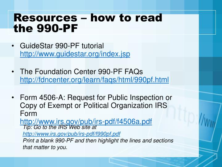 Resources – how to read the 990-PF