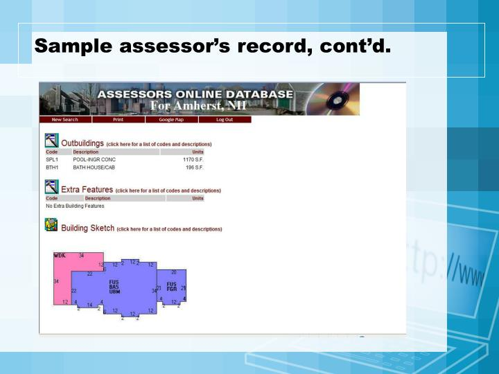 Sample assessor's record, cont'd.