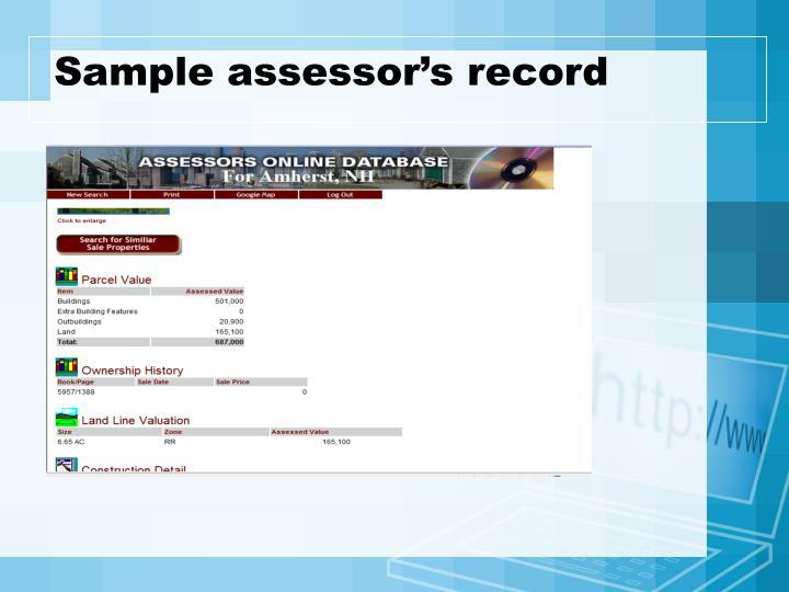 Sample assessor's record