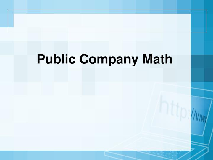 Public Company Math