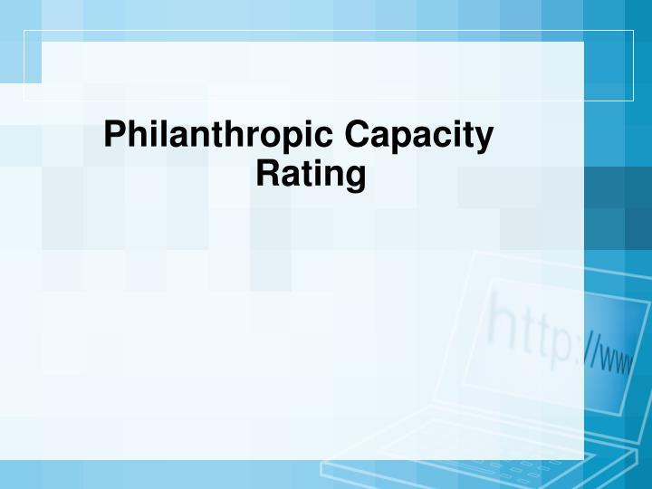 Philanthropic Capacity Rating