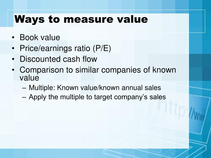 Ways to measure value
