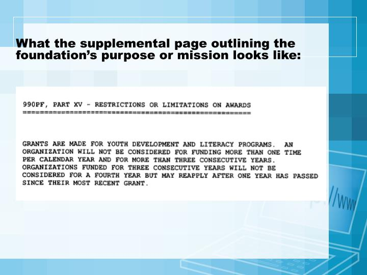What the supplemental page outlining the foundation's purpose or mission looks like: