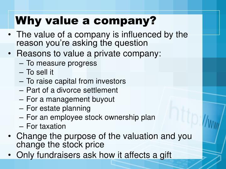 Why value a company?