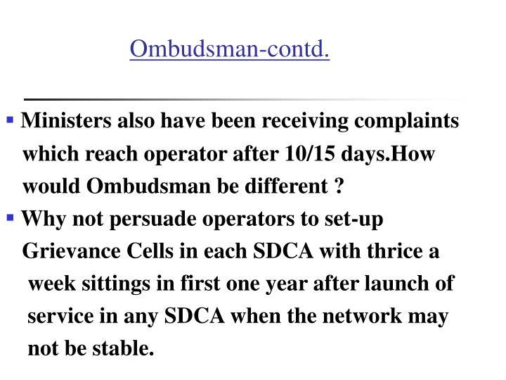 Ombudsman-contd.