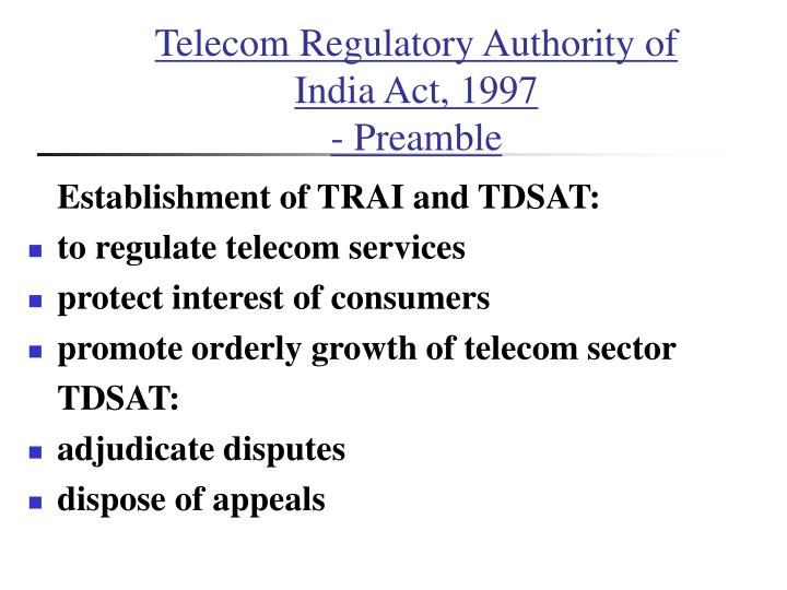 Telecom Regulatory Authority of India Act, 1997