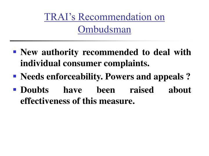 TRAI's Recommendation on  Ombudsman