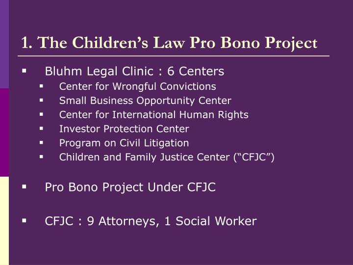 1 the children s law pro bono project