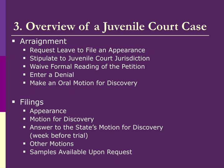 3. Overview of a Juvenile Court Case