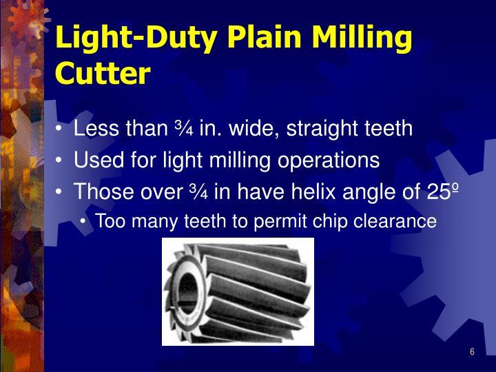 Light-Duty Plain Milling Cutter