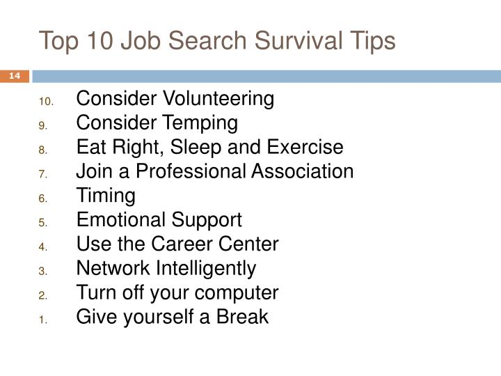 Top 10 Job Search Survival Tips