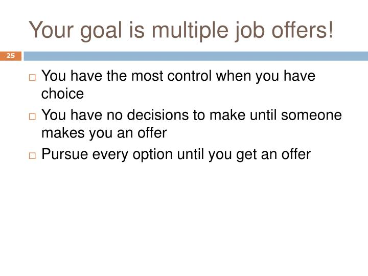 Your goal is multiple job offers!