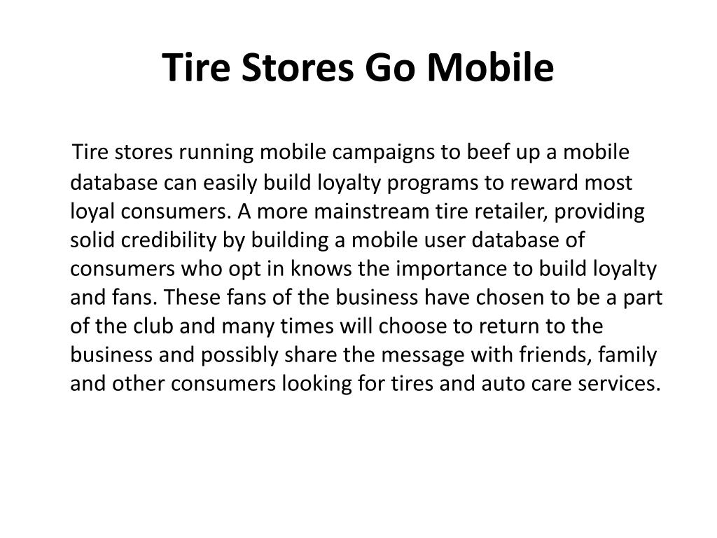 Tire Stores Go Mobile