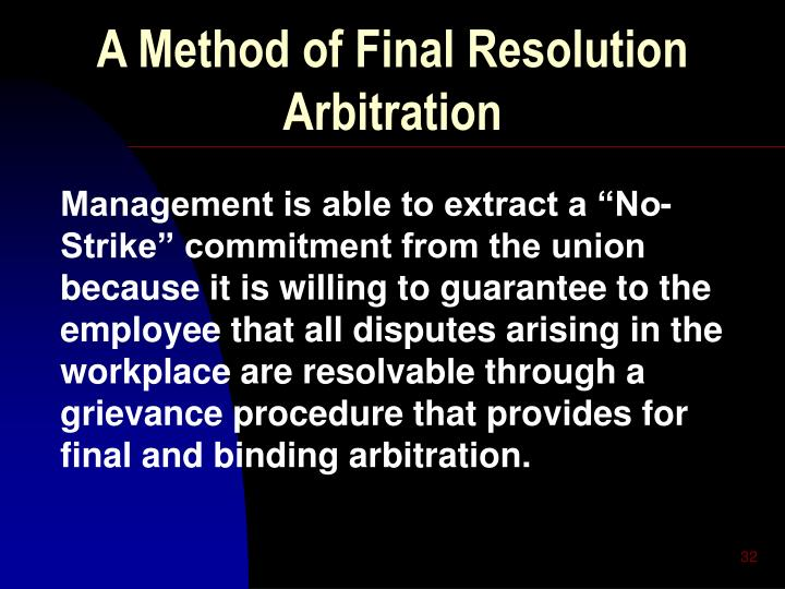 A Method of Final Resolution Arbitration