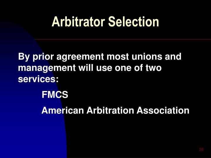 Arbitrator Selection