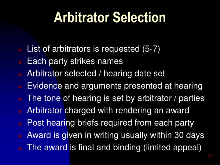 List of arbitrators is requested (5-7)