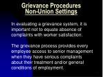 grievance procedures non union settings
