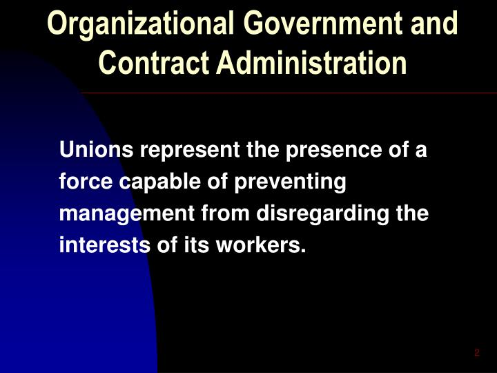 Organizational Government and Contract Administration