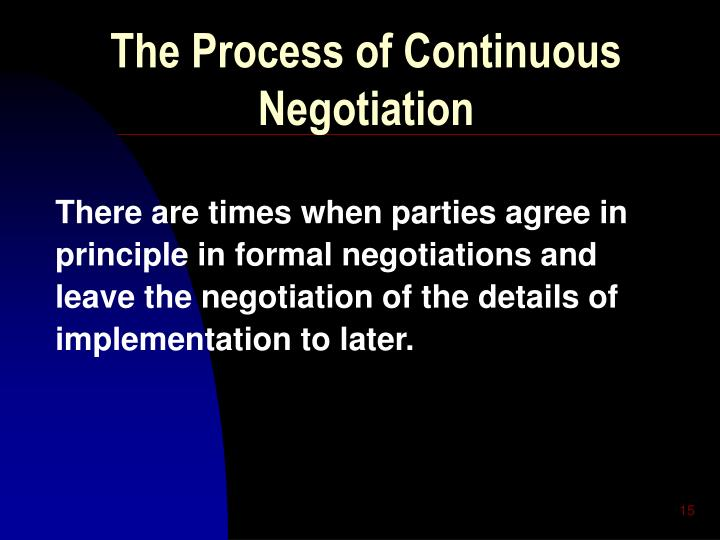 The Process of Continuous Negotiation