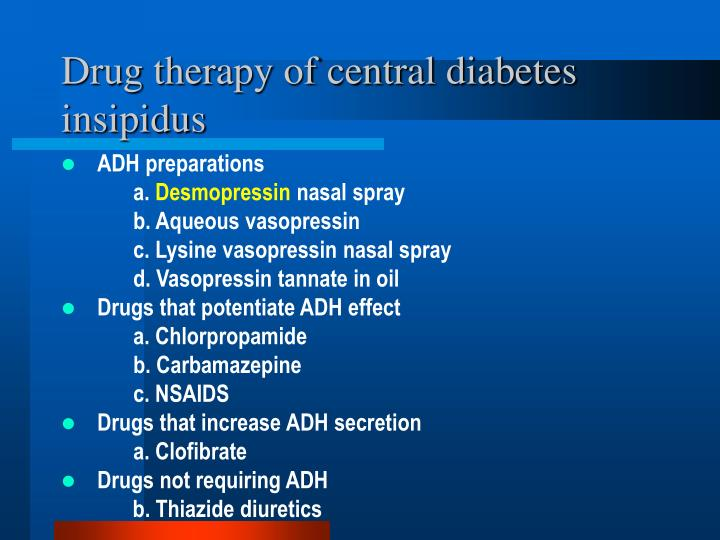Drug therapy of central diabetes insipidus
