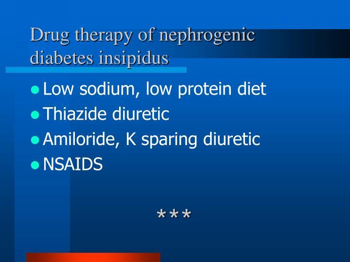 Drug therapy of nephrogenic diabetes insipidus