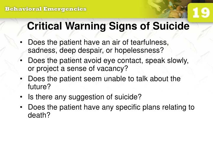 Critical Warning Signs of Suicide
