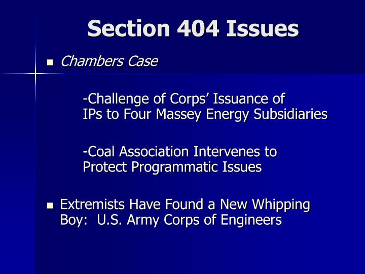 Section 404 Issues