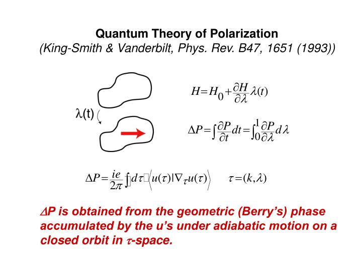 Quantum Theory of Polarization