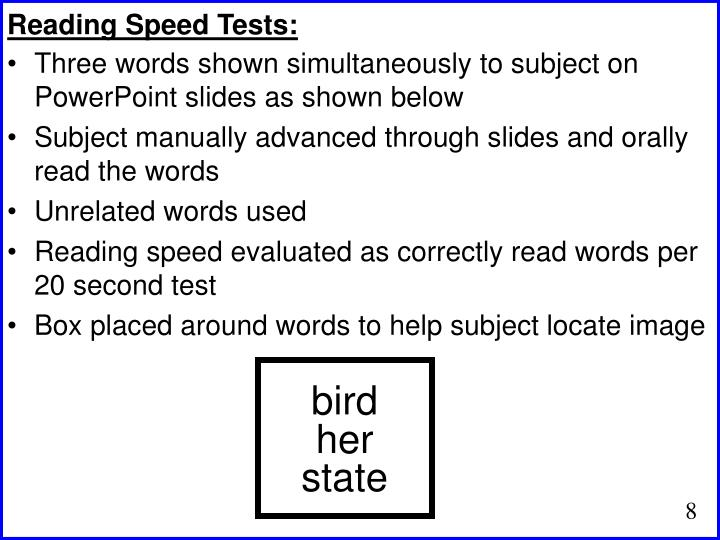 Reading Speed Tests: