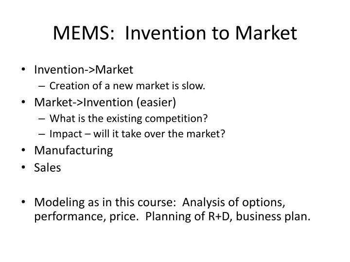 Mems invention to market