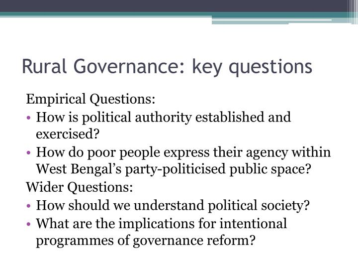 Rural Governance: key questions