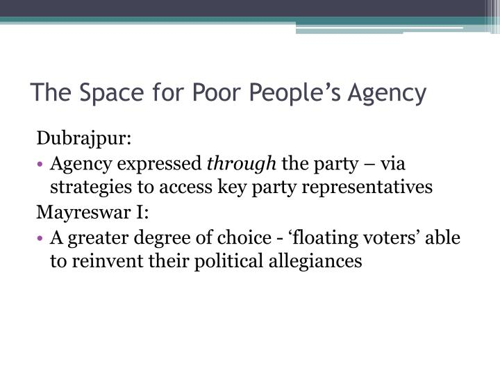 The Space for Poor People's Agency