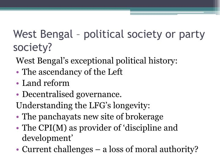 West Bengal – political society or party society?