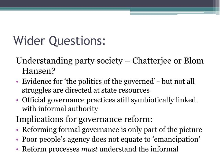 Wider Questions: