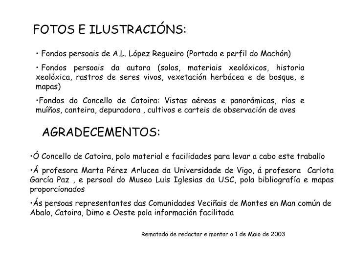 FOTOS E ILUSTRACINS: